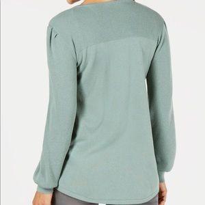 Pleated-Sleeves Tunic Sweater